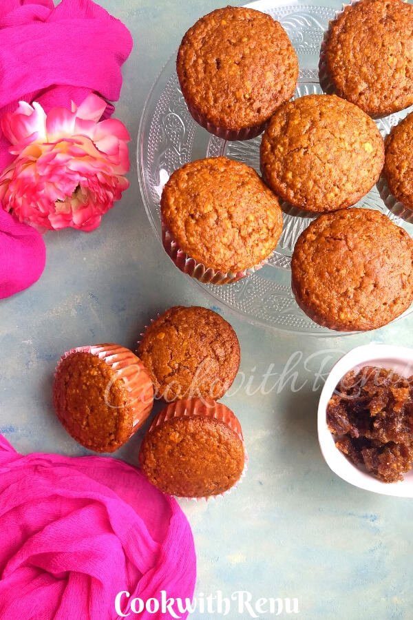 Eggless Gulkand Muffins #BreadBakers